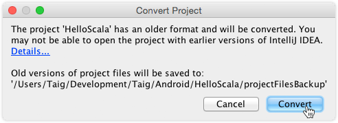 Convert a project configuration of an older IntelliJ IDEA version to the current one