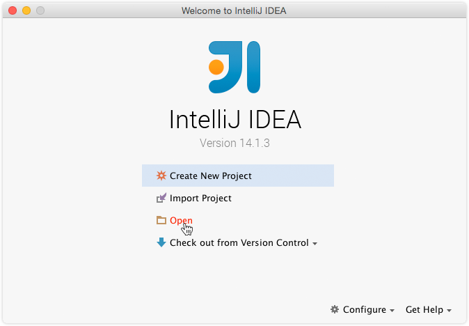 Selection of IntelliJ IDEA open menu